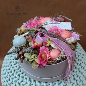 Tavaszi Flower box asztaldísz művirágokból