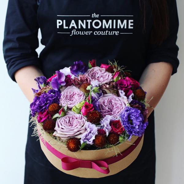 Flower box kerek vegyes virágokkal